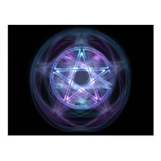 Witchcraft Blue Fire Pentagram Postcard