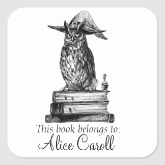 Witchcraft library owl square sticker