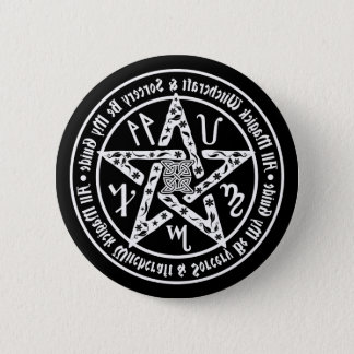 Witchcraft Mirror Writing Occult Pentacle Button