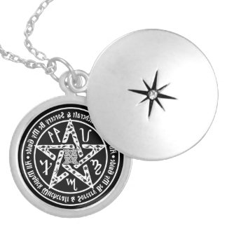Witchcraft Mirror Writing Occult Pentacle Silver Plated Necklace