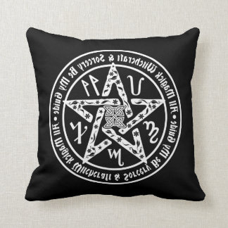Witchcraft Mirror Writing Occult Pentacle Throw Pillow