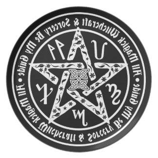 Witchcraft Mirror Writing Pentagram Dinner Plate