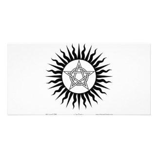 Witchcraft: Sun Burst; Pentagram circle Customized Photo Card