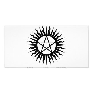 Witchcraft: Sun burst: Pentegram Photo Card Template