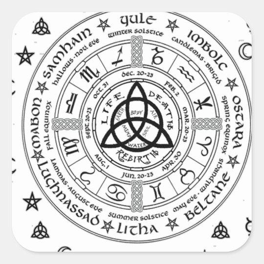Witchcraft symbols square sticker | Zazzle com