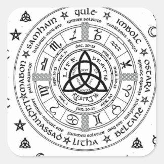 Witchcraft symbols square sticker