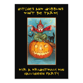Witches and Goblins Bloody Text Halloween Party Card