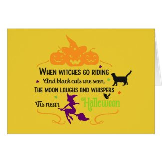 Witches And Pumpkins Greetings Card