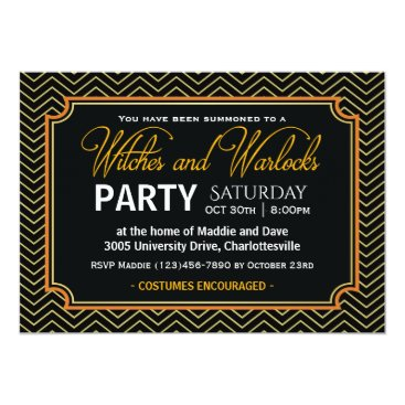Halloween Themed Witches and Warlocks Halloween Party Card