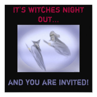"Witches Blue Night Out Invitation 5.25"" Square Invitation Card"