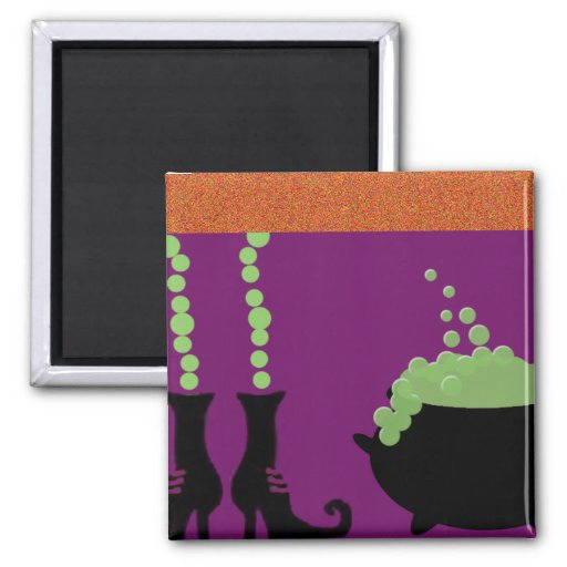 WITCHES BOOTS & CAULDRON 2 INCH SQUARE MAGNET