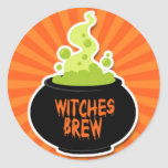 Witches Brew Cauldron Round Stickers