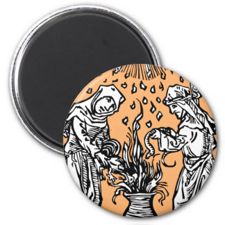 Witches Brewing in a Cauldron Magnet