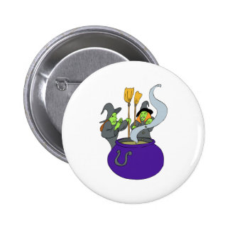 Witches brewing potion pinback button