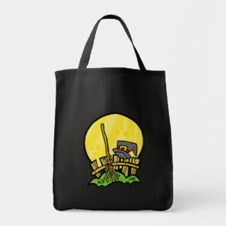 witches broom and hat tote bags