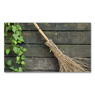 Witches broom business card magnet