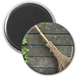 Witches broomstick 2 inch round magnet