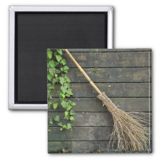 Witches broomstick 2 inch square magnet