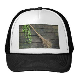 Witches broomstick trucker hat