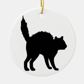 Witches Cat Ceramic Ornament