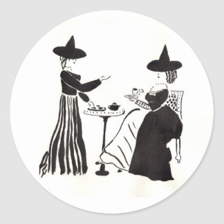 Witches Catching Up Classic Round Sticker