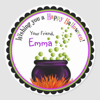 Witches Cauldron Halloween Stickers