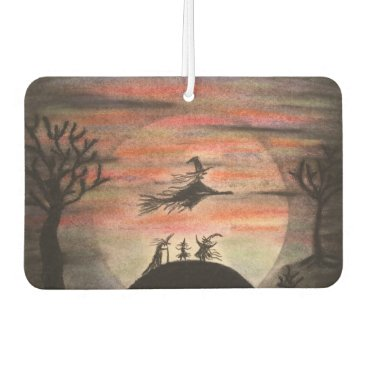Halloween Themed Witches Celebrate a Full Moon During Halloween Air Freshener