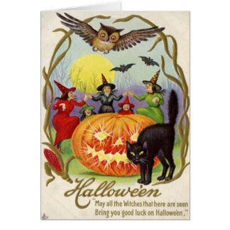 Witches Dancing Around Jack O' Lantern Card