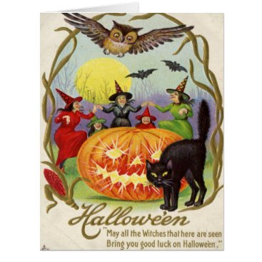 Halloween Themed Witches Dancing Around Jack O' Lantern Card
