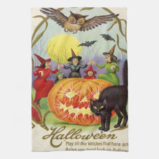 Witches Dancing Around Jack O' Lantern Hand Towel