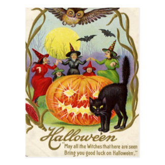 Witches Dancing Around Jack O' Lantern Post Card