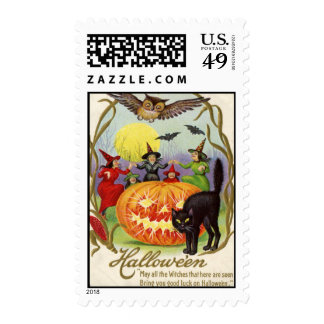 Witches Dancing Around Jack O' Lantern Postage Stamps