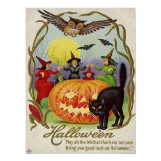 Witches Dancing Around Jack O' Lantern Poster