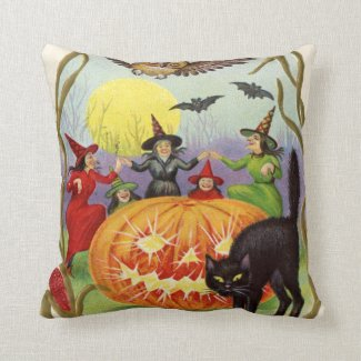 Witches Dancing Around Jack O' Lantern Throw Pillow