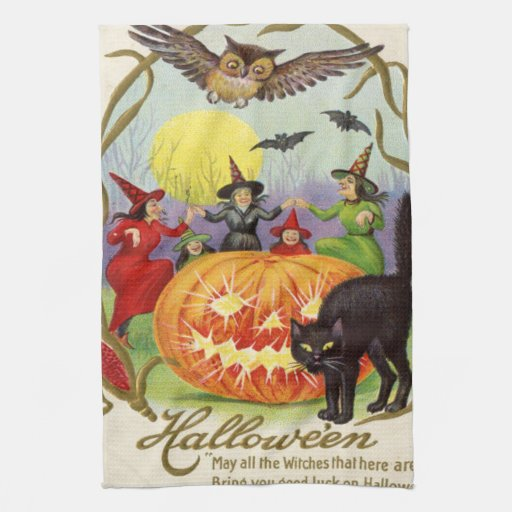 Witches Dancing Around Jack O' Lantern Towels