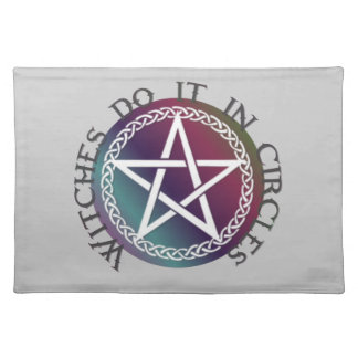 """Witches do it in circles"" cute Pagan design Cloth Placemat"