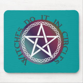 """""""Witches do it in circles"""" cute Pagan design Mouse Pad"""