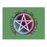 """Witches do it in circles"" cute Pagan design Postcard"