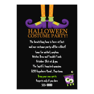 Witches Feet Halloween Costume Party Card