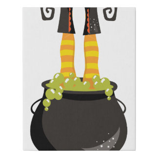 Witches Feet Sticking out of a bubbling cauldron Faux Canvas Print