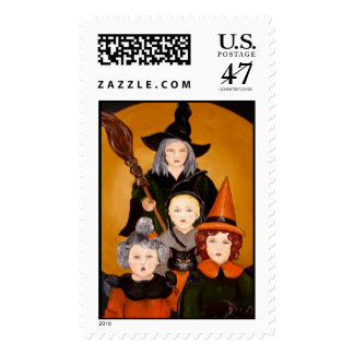 Witches four postage stamp