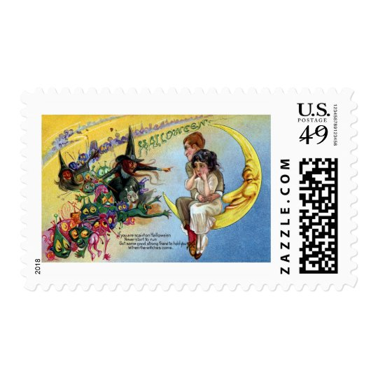 Witches, Goblins & Man in the Moon Halloween Postage