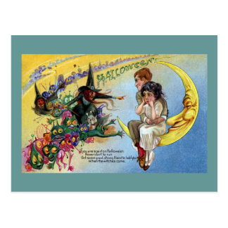 Witches Goblins Man in the Moon Halloween Postcard