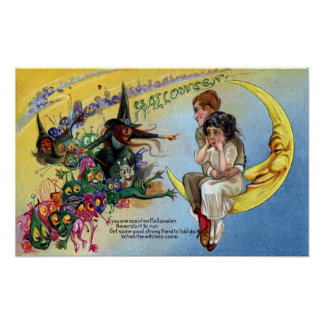 Witches, Goblins & Man in the Moon Halloween Poster