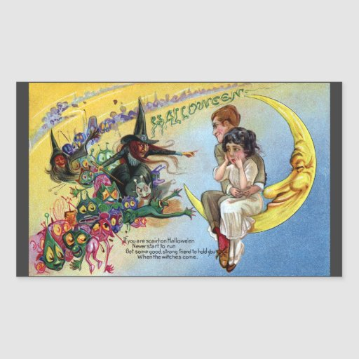 Witches, Goblins & Man in the Moon Halloween Sticker