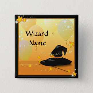 Witches Halloween Enchanting Party Wizard Name Button