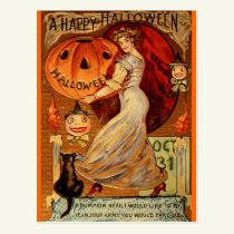 Witches, Halloween, Magic, Spooky, Cute Postcard