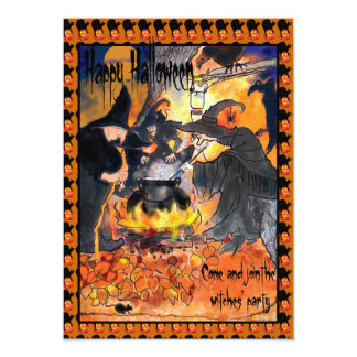 Witches Halloween Party Invitation original art