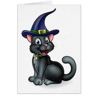 Witches Hat Black Cat Cartoon Character Card