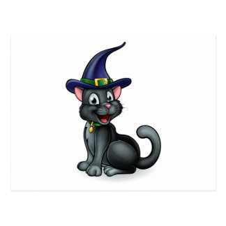 Witches Hat Black Cat Cartoon Character Postcard
